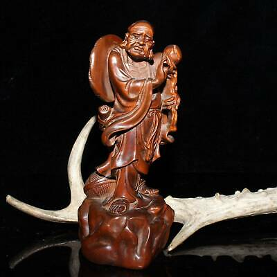 China Collectable Old Boxwood Handwork Carved Old Gods Exorcism Delicate Statue