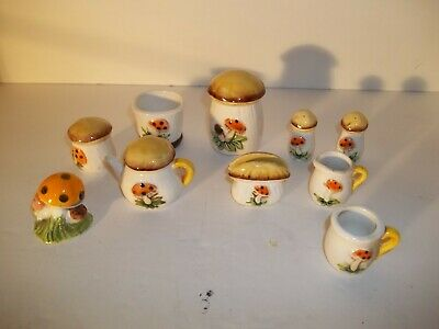 Vintage 11 pc Miniature Mushroom tea set figurines Made in Japan