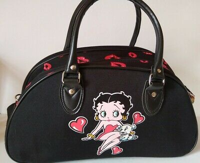 Betty Boop Kisses Overnight Duffel Travel Canvas Bag Black Red Pudgy Dog