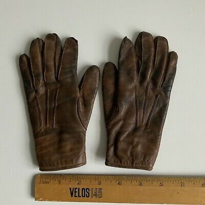 Vintage Brown Leather Children's Gloves 1940s