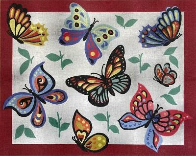 Butterflies Tapestry Design On 10 Count Canvas & Required tapestry Wool