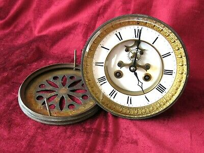 A Nice French Visible 8 Day Bell Striking Clock Movement & Dial
