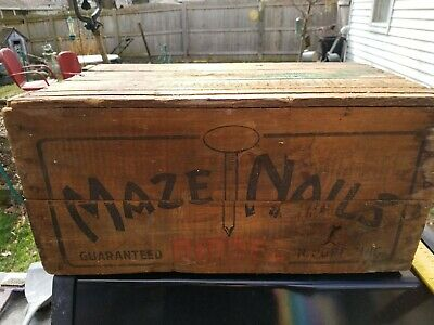 Vintage W. H. Maze Company Nail Wooden Shipping Crate Great Graphics Rare Cool