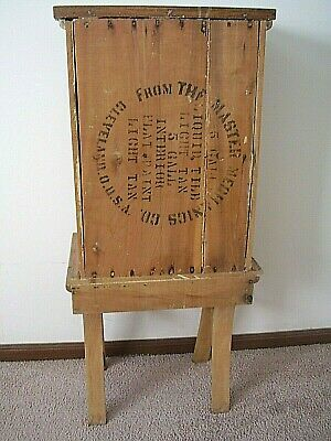 TRUE ANTIQUE..WOODEN WASH STAND...Royal Hotel, Indianapolis IN..piece of history