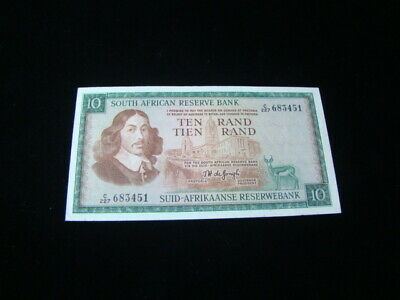 South Africa 1966-76 10 Rand Banknote VF+ Pick #114b Nice!!