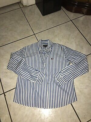 Polo Jeans Co. Ralph Lauren Womens Blouse Sz Small Blue White Used