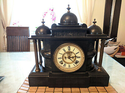 Antique Black Marble Ansonia Clock Company New York USA Mantle Clock Working