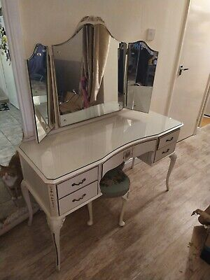 Vintage Shab Chic Louis XV style Dressing Table With Mirror. French