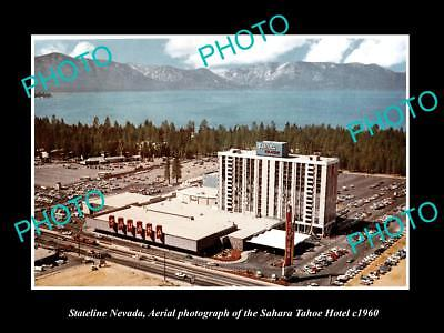 OLD LARGE HISTORIC PHOTO OF STATELINE NEVADA VIEW OF SAHARA TAHOE CASINO c1960