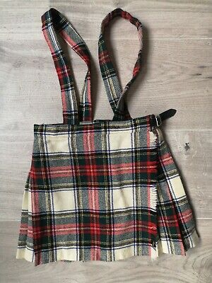 Girls 100% Pure New Wool Pinafore Dungarees Dress Braces Scotland Kilt Age 4