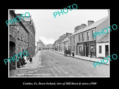OLD 8x6 HISTORIC PHOTO OF COMBER DOWN IRELAND VIEW OF MILL St & STORES c1900