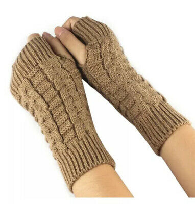 Tan Brown Knit Fingerless Gloves Hand And Arm Warmer New