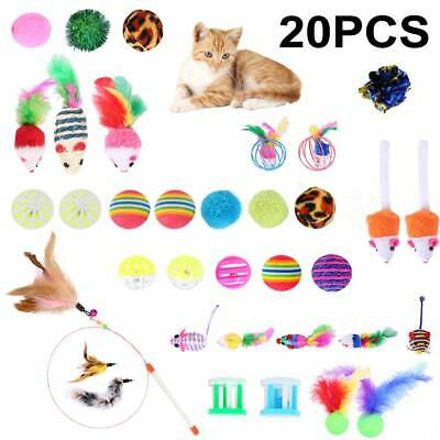20pcs Bulk Cat Interactive Play Toys Kitten Pet Rod Mouse Feathers Bells Balls