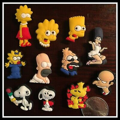 11 Shoe Charms for Crocs SNOOPY Woodstock THE SIMPSONS Bart Lisa Marge Homer