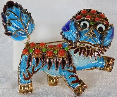 Vtg Chinese Gilt Enamel Filigree Sterling Silver Coral Foo Fu Dog Brooch Pin