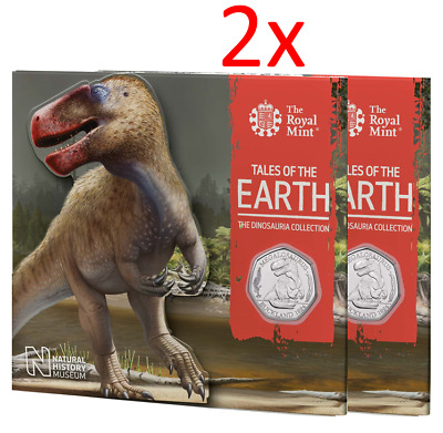 2x 2020 Megalosaurus Dinosauria BUNC UK 50p Dino Coin Royal Mint Sealed Pack RM3