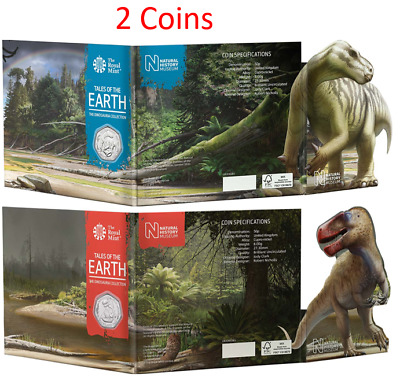 2020 Megalosaurus and Iguanadon Dino BUNC UK 50p Coin in Royal Mint Sealed Packs