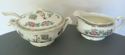 RARE FRANK BUCKLEY SMALL TUREEN & LID WITH SPOON GRAVY SAUCE BOAT 1930s ART DECO