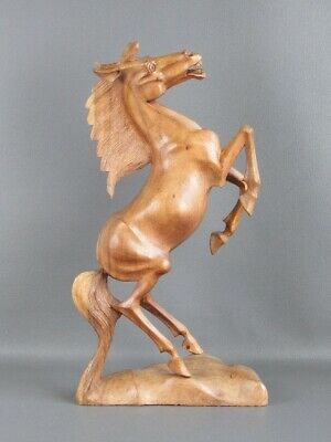 Horse Rearing Sculpture Wooden Carved 51CM Statue Period Xx Century