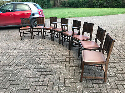 8 Vintage Dining Chairs Arts & Crafts Style