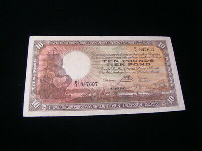 South Africa 1943 10 Pounds Banknote VF Pick #87