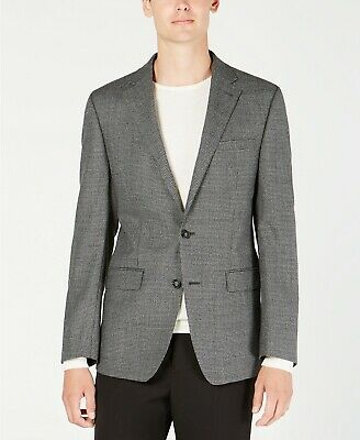 $350 Calvin Klein X Fit Slim-Fit Gray/Black Houndstooth Wool Sport Coat 38S NEW