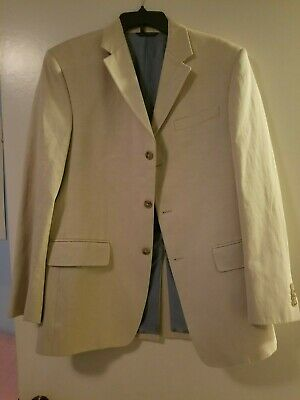 Banana Republic Modern suit Beige Jacket/Pant Set 40R / 34-32 new w defects.