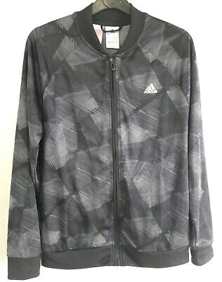 Adidas Age 13-14 Years Black/Grey Full Zip Tracksuit Top/Jacket Bnwot Free P&P