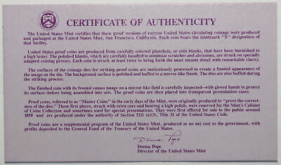 1990-S Clad Proof Set New US Mint Product COA ONLY, NO COINS