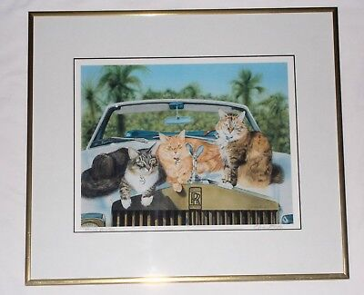 """Florida Vacation"" Pencil Signed Framed Cat Print Drew Strouble"