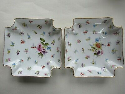 Antique Pair Pretty Hand-Painted Continental Porcelain Dishes, Scattered Flowers