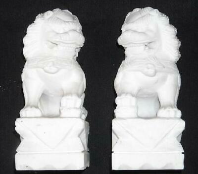 Chinese White Marble Foo Dogs, Chinese Lions Pair