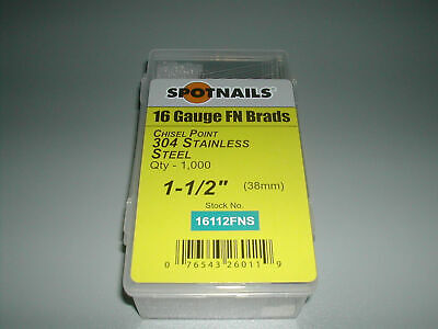 """Finish Nails 20 Degree STAINLESS 1 1/2"""" for  Paslode and Dewalt Finish Nailers"""