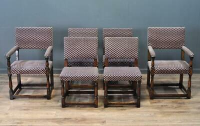 Attractive Antique Set of Six 6 Carved Oak Dining Kitchen Chairs With Carvers