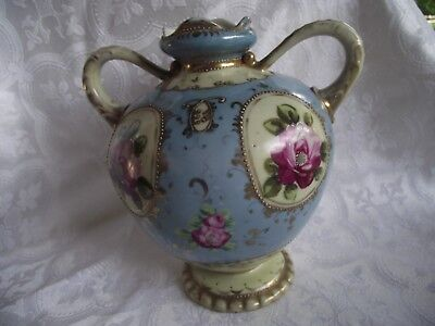 "Antique Nippon Hand Painted Floral Porcelain Moraige 7.5"" Vase ~gold trim"