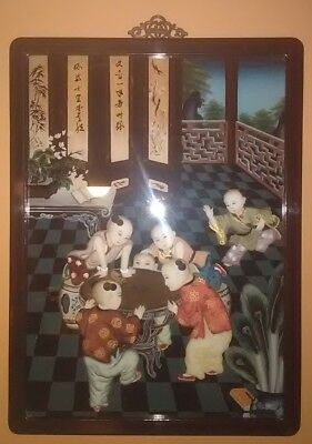 !! Vintage Chinese Black Lacquer Framed Art Children Playing Game China Oriental