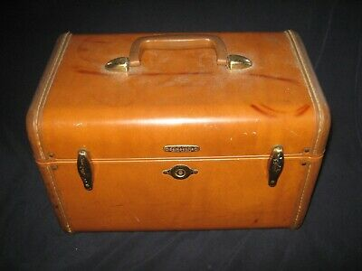 *** Lqqk *** Vintage Samsonite Luggage Brown Carry On Train Makeup Case & Mirror