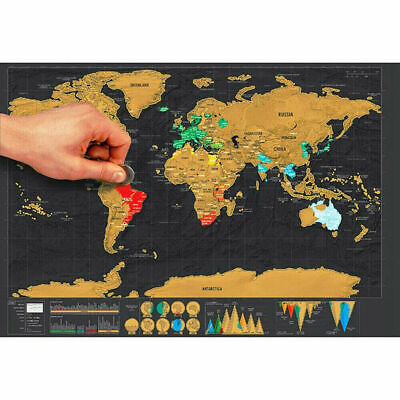 Retro Scratch Off World Map Deluxe Edition Travel Log Journal Poster Wall Decor