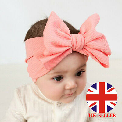 Girls Kids Baby Cotton Bow Hairband Headband Stretch Turban Knot Head Wrap Pink