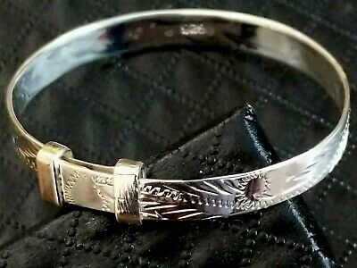 Solid 925 Sterling Silver Baby Bangle Child's 5MM Expandable, Christening Gift
