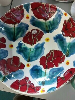 Janice Tchalenko STUDIO POOLE Pottery POPPY Design Deep Bowl 12inches by 3high
