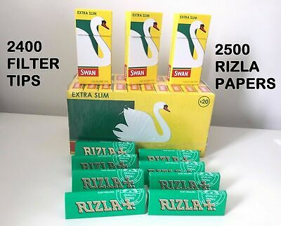 New 2500 Rizla Green Rolling Papers + 2400 Swan Extra Slim Filter Tips Original