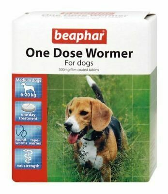 Beaphar One Dose Wormer Tablet Worming for Medium Dogs - 2 Pack (4 Tablets)