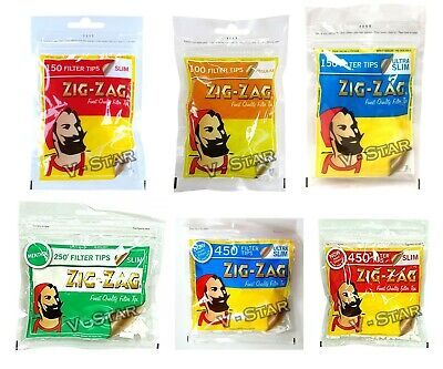 Zig Zag Filters Tips Resealable Bag, Slim, Ultra Slim, Menthol Cigarette Filter