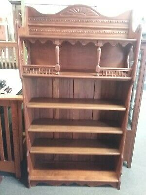 19th Century Victorian Eastlake Wooden Bookcase Gallery Top Local Pick-up