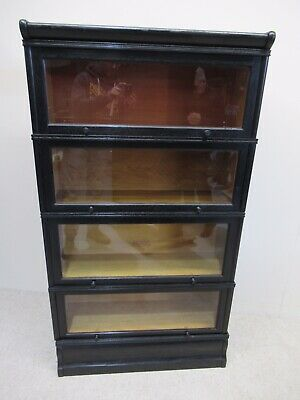 Antique Oak 4 Height Stacking Bookcase Manner Globe Wernicke Matching Pair