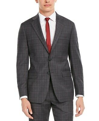 $400 Calvin Klein Slim-Fit Stretch Gray Burgundy Plaid Suit Jacket Mens 44R NEW
