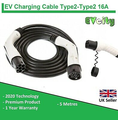 2020 TYPE 2 to TYPE 2 EV CHARGING CABLE 16A 5m SINGLE PHASE - ELECTRIC PHEV