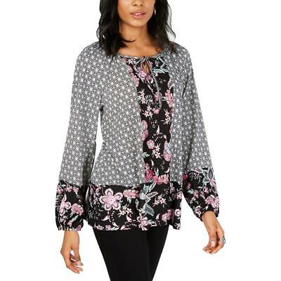 Style & Co. Womens Black Floral Print Split Neck Blouse Top Shirt L BHFO 7662