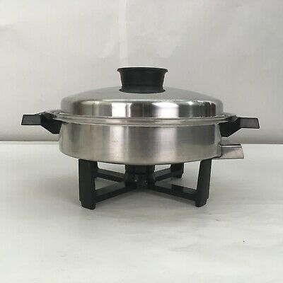 Vintage Townecraft Liquid Core Electric Skillet with Lid West Bend Control VGC